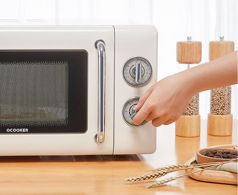 圈厨复古机械微波炉,小巧高颜值好物